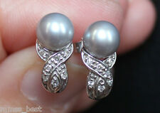 Zales New 10K Grey Pearl & Diamond Bypass Stud Earrings White Gold