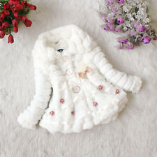 Toddler Kids Baby Girls Fur Fleece Coat Princess Winter Warm Snowsuit Top Jacket