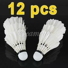 12pcs Training White Goose Feather Shuttlecocks Birdies Badminton Ball Sport
