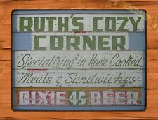 """TIN-UPS TIN Sign """"Ruth's Cozy Corner"""" Vintage Restaurant Beer Store New Orleans"""