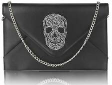 CLUTCH hand BAG WEDDING EVENING black skull flap over gothic 228
