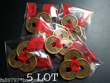 5 x Lot Feng Shui Lucky Chinese I-Ching 23mm Coins Set of 3, Red Ribbon I Ching