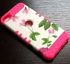 For iPod Touch 5th 6th Gen - HYBRID HARD&SOFT RUBBER SKIN CASE PINK WHITE FLOWER