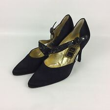Rene Caovilla Black Satin Sequined Pumps Size 8 Formal Evening Special Occasion