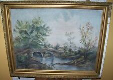 c1890 ANTIQUE STONE BRIDGE HUDSON RIVER SCHOOL BRIDGE RIVER OIL PAINTING