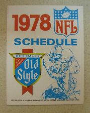 1978 NFL FOOTBALL POCKET SCHEDULE BY OLD STYLE EXCELLENT CONDITION
