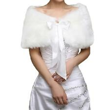 Ivory Plush Faux Fur Women Wedding Wraps Shrug Bolero Jackets Bridal Coat Shawls