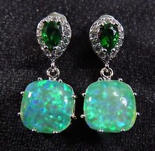 """Silver 925 Filled Post Earrings Green Lab Opal 8mm Cabochon & 6*4mm Emerald 1"""" D"""