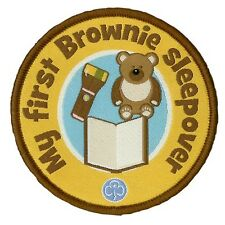MY FIRST BROWNIES SLEEPOVER CLOTH BADGE OFFICIAL BROWNIE UNIFORM NEW