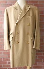 Hickey Freeman Beige Wool Double Breasted Topcoat Made in USA Sz 42