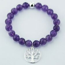 silver stretch bracelet amethyst 8mm beads and 925 silver tree of life charm NEW