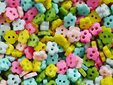 100! 6mm Flowers  - Tiny Micro Craft Flower Buttons - Sweet Colour Button Mix!