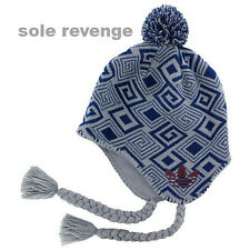 New adidas Originals ICE CAP EARFLAP Beanie Winter Snow Hat Gray Blue Q45352