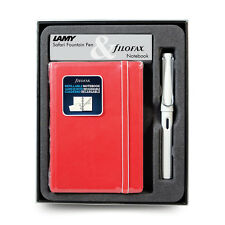 Lamy Safari White Fine Fountain Pen  & Red Filofax Leatherette Notebook Gift Set