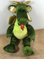 "Build A Bear 2010 Enchanted Dragon Green & Gold Fire Breathing Dragon 20"" Plush"