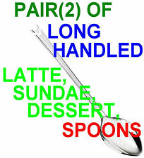 x2, LONG HANDLED METAL DESSERT, LATTE, ICE CREAM SUNDAE SPOONS - PAIR