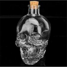80ml Mini Crystal Skull Head Shot Glass Bottle of Vodka Whiskey with Wooden Cork