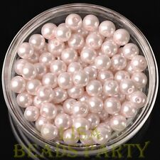 Hot 30pcs 8mm Round Glass Pearl Loose Spacer Beads Jewelry Making Baby Pink
