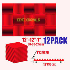 1x12x12 (12 Pack) RED Acoustic Wedge Soundproofing Studio Foam Tiles KTV
