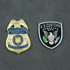 US U S Customs Inspector Mini Badge Patch Commemorative 2 Pin Set
