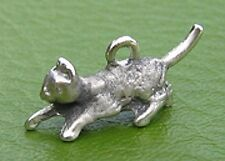 Playful Cat Charm Sterling Silver Vintage 3D Piss and Vinegar Kitten