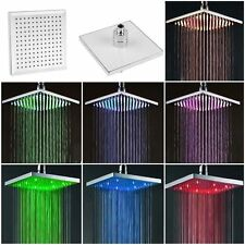 "Square LED Shower Head Chrome 8"" light automatic changing 7 colour Bathroom"