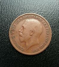 British 1919 one penny coin. Great Britain 1 cent.  World big coin.