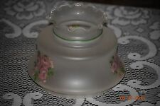 Frosted Glass Lamp Shade with Pink Roses
