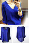 Summer Girl Metal Rivet Shoulder V Neck Chiffon Top Shirt Blouse S M L XL