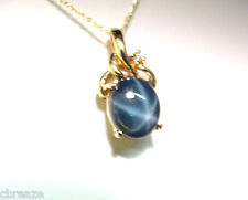 GREEN BLUE GENUINE STAR SAPPHIRE 3.41 CTS and DIA. 12K GOLD PENDANT w/ 14K CHAIN