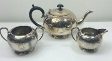 VINTAGE 'CIVIC' SHEFFIELD SILVER PLATE 3PC TEASET - TEAPOT SUGAR BOWL & MILK JUG