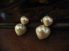 Butler & Wilson Signed Vintage Double Pearl Heart Pierced Earrings