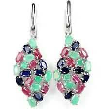 Silver 925 Genuine Natural Emerald, Pink Ruby & Sapphire Cluster Earrings