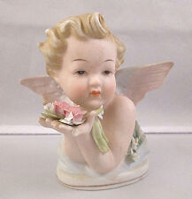 Vintage Lefton China Angel Bust With Flowers Figurine KW1415R - Made In Japan
