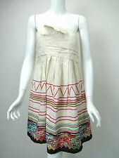 SEE BY CHLOE Off-White Linen/Cotton Mexican Embroidered Strapless Dress 42 US 6