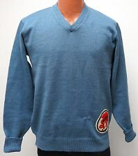 vtg W49 SAIGONS PATCH Blue V-Neck Wool SWEATER M/L 50s/60s Dragon Silverwoods