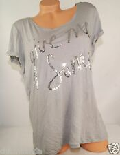 Victoria's Secret PINK Tee T-Shirt BLING Gray Slouchy Open Back Silver M L NEW