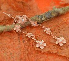 Pink Plated Dangle Hawaiian Plumeria Flower Earrings-.925 Sterling Silver.