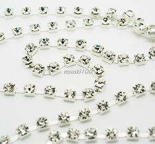 1 metre Rhinestone Chain Silver Gold Cup Diamante Crystal AB Glass Diamond Gems
