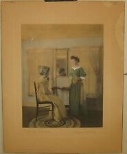 Rare ANTIQUE 1908 Wallace Nutting 'SISTERLY CRITICISM' Hand colored PHOTOGRAPH