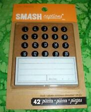 SMASH BOOK ACCESSORY - CAPTIONS BRADS - Journaling, Scrapbooking - 42 Pieces