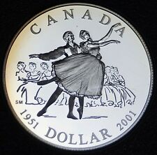 1951-2001 CANADA -PROOF $1 NATIONAL BALLET -.925 SILVER UHC -Rainbow Tone - NCC