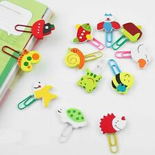 60Pcs Cute Cartoon Wooden Paper Note Clips Bookmark Bookmarker Paperclip
