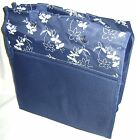 NEW BICYCLE PANNIER SHOPPER BAG FIXES ONTO BIKE NAVY BLUE WHITE FLORAL PATTERN
