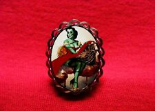 ZOMBIE PIN UP GIRL RING ROCKABILLY PSYCHOBILLY GOTH