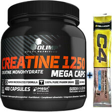 OLIMP CREATINE MONOHYDRATE BOOST STRENGH&MUSCLE SIZE 1250mg 400 CAPS+FREE C4