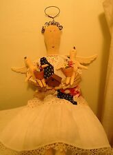 Handmade Primitive Cloth  Garden Angel doll reclaimed and upcycled Antique Quilt