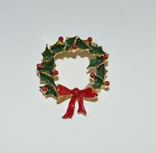 Holly Wreath Red Ribbon Gold Tone Metal Pin Brooch tie Back