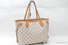 Authentic Louis Vuitton Damier Azur Neverfull PM Tote Bag N51110 LV 22782