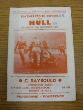 12/12/1964 Rugby League Programme: Featherstone Rovers v Hull  (folded, scores n